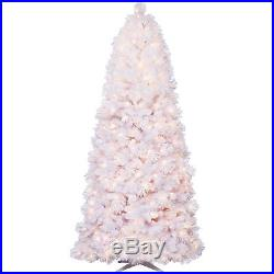 Holiday Time 7.5′ Clear Pre-lit Lenox Quick Set white flocked Christmas Tree