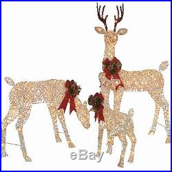 Holiday Time Christmas Decor Set of 3 Woodland Vine Deer Family Sculpture