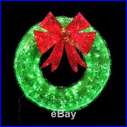 Holiday Wreath Green Tinsel Christmas Festive Accent Decoration With LED Lights