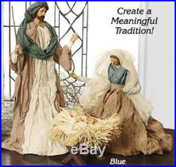 Holy Family Nativity Set LARGE Handcrafted Artisan Look Christmas Resin taffeta