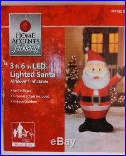 Home Accents 3 ft 6 in LED Lighted Santa Airblown Inflatable NEW