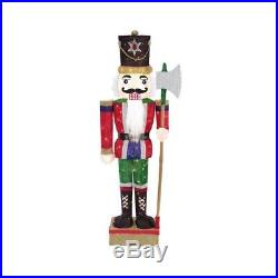 Home Accents Holiday 65 LED Lighted Tinsel Nutcracker with Axe TY390-1414