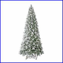 Home Heritage 12 Foot Flocked Pine Prelit Christmas Tree with Berries (Open Box)