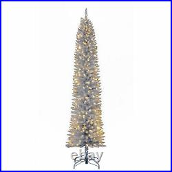 Home Heritage 7ft Prelit Artificial Pencil Christmas Tree with LED Lights, Silver
