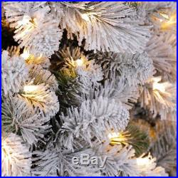Home Heritage Cascade 7′ Pine White Flocked Artificial Christmas Pre-Lit Tree