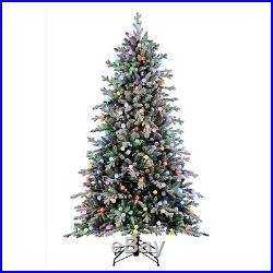 Home Heritage Victoria 7.5 Foot Flocked Christmas Tree Multi Color Lights (Used)