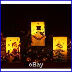 Home Impressions Santa Snowman Tree Pattern LED Candle Light 3×6 Christmas Gift