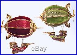 Hot Air Balloon Dirigibles and Ships Christmas Holiday Ornaments Set of 2