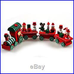 Hot New 4 Piece Wood Christmas Xmas Train Ornament Decoration Decor Gift