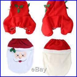 Hot Sell 3PCS Fancy Santa Toilet Seat Cover & Rug Bathroom Set Christmas Decor