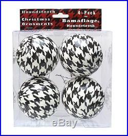 Houndstooth Christmas Ornaments 4pk Black & White