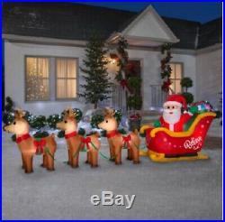 Huge 14 Feet Long Airblown Inflatable Santa Sleigh Scene New