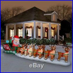 Huge 17′ Airblown Inflatable Santa Reindeer Sleigh Outdoor Christmas Decor Yard