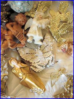 Huge Lot of Victorian Christmas Ornaments Angels 120+ Pcs. Vintage & New