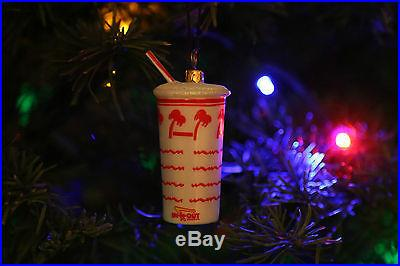 IN N OUT BURGER DRINK CUP SHAKE BLOWN GLASS CHRISTMAS ORNAMENT RARE