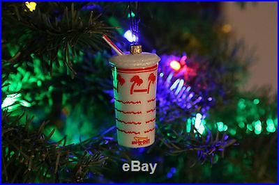In N Out Burger Drink Cup Shake Blown Glass Christmas