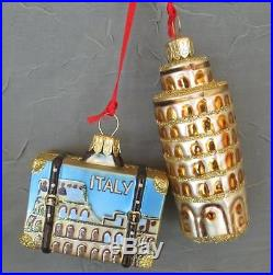 ITALY SUITCASE & PISA GLASS CHRISTMAS ORNAMENTS- NORDSTROM NEW POLAND