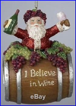 I Believe in Wine Santa on Barrel Christmas Ornament New Holiday Decoration