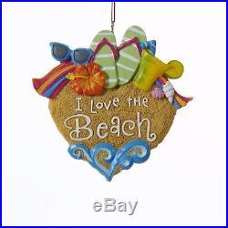 I Love the Beach Christmas Ornament Sandals Sunglasses Shells Decoration J1436