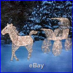 Ice Crystal Animated Horse and Carriage Sculpture