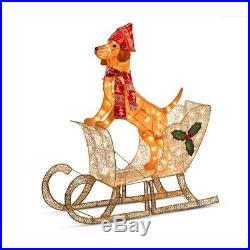 Improvements Lighted Tinsel Dog with Sleigh Outdoor Christmas Decoration -530840