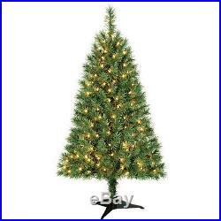 Indiana Spruce 4 ft Artificial Pre-Lit Clear Lights Christmas Tree withBase NIB