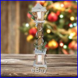 Indoor 60cm Brown Rustic Wood Christmas Lamp Post with Warm White LED Lamp Light