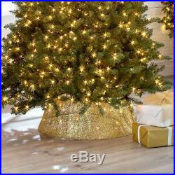 Indoor Christmas Tree Base Gold Collar Lighted Glittered Woven Mesh Fabric Look