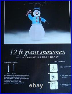 Inflatable Giant Snowman Christmas Outdoor Yard Decor 12 Ft New
