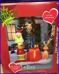 Inflatable Grinch and Max on Snow Base Scene 6 Ft Tall Airblown Christmas Decor