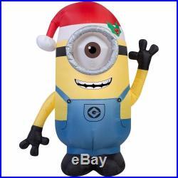 Inflatable Minion Christmas Stuart Santa Hat Lights Holiday Outdoor Decor New