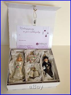 Inge Glas of Germany Bride & Groom 4 Piece Glass Ornament Box Set 1-108-15