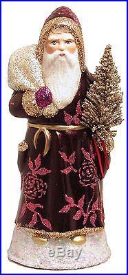 Ino Schaller Dark Purple Santa With Rose Coat German Paper
