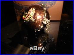 JAY STRONGWATER Brown Egg with Lizard & Bees with Swarovski Crystals
