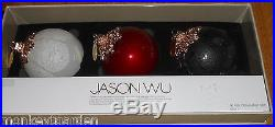 Jason Wu Glass Christmas Ornaments Set Of 3 New Red White Clear Black