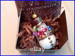 Jay Strongwater SNOWMAN ORNAMENT GIFT BOXED ELEGANT CHRISTMAS HOLIDAY NEW