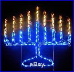 Jewish Hanukkah Menorah Candles Outdoor LED Lighted Decoration Steel Wireframe