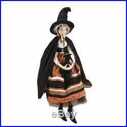 Joe Spencer Batilda Witch Doll with Crow Plush Figurine Halloween Retro Decor