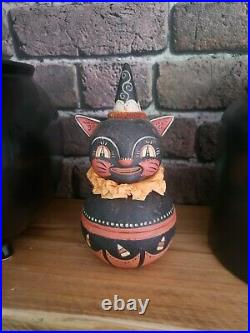 Johanna parker vintage Rare Black cat candy dish halloween discontinued