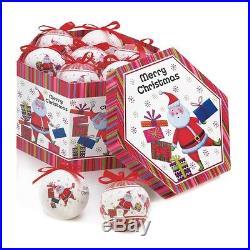 Jolly Santa Ornament Box Set of 12 Christmas Tree Decorations Colorful Decor New