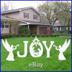 Joy Christmas Yard Sign Decorations Outdoor Creche Lawn Nativity Figurines Scene