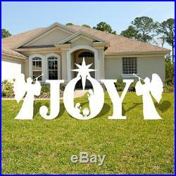 Joy Nativity Scene Christmas Lawn Display/Yard Card Set WHITE, 5 pcs total
