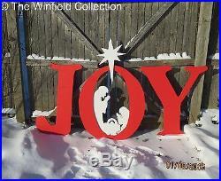 Joy Sign with Nativity Scene Wood Outdoor Decoration, Joy Sign with Nativity