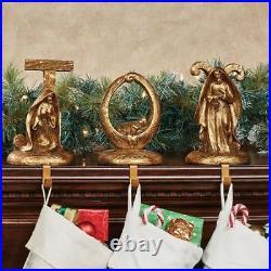 Joy Stocking Holders Old World Gold Set of Three