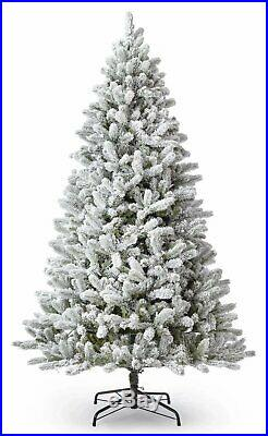 KING OF CHRISTMAS 7.5 Foot King Flock Artificial Christmas Tree With White LED