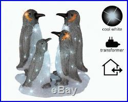 Kaemingk Outdoor LED Ice Sheet With 4 Penguins 96 Light Cool White CHRISTMAS DEC