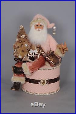 Karen Didion Originals Signature Coral Santa on Box Figurine
