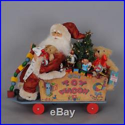 Karen Didion Originals Signature Lighted Toy Wagon Santa Figurine