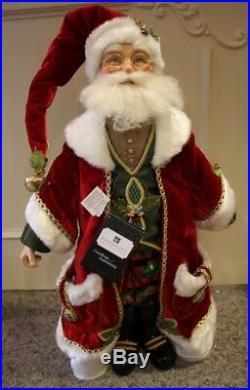 Katherine´s Collection Edler Weihnachtsmann Brille Santa Rot Gold Samt 66cm NEU