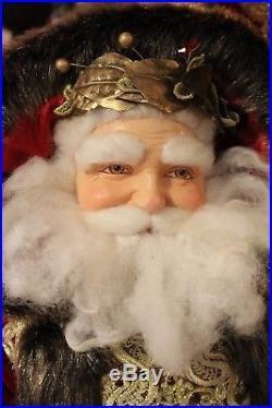 Katherine´s Collection Edler Weihnachtsmann Santa Rot Gold Samt Kunstfell 91 cm